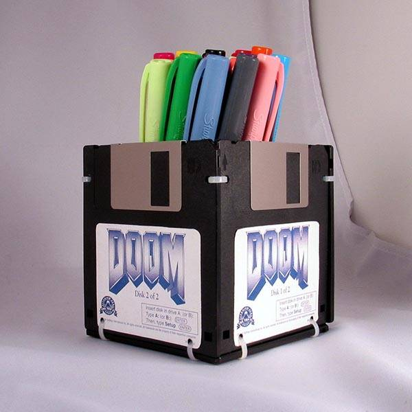 Handmade Pen Holder Built With DOOM Floppy Disks, one of our handmade tech gifts