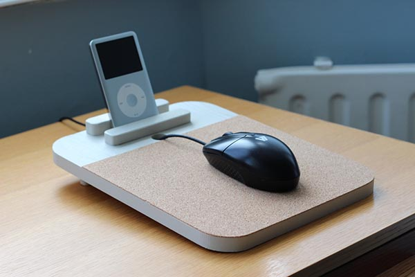 The Handmade Wood Mouse Pad with Docking Station