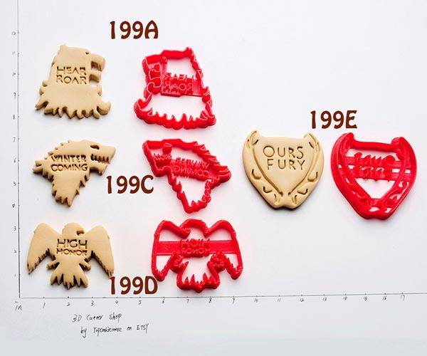 The 3D Printed Game of Thrones Cookie Cutters Inspired by House Sigils