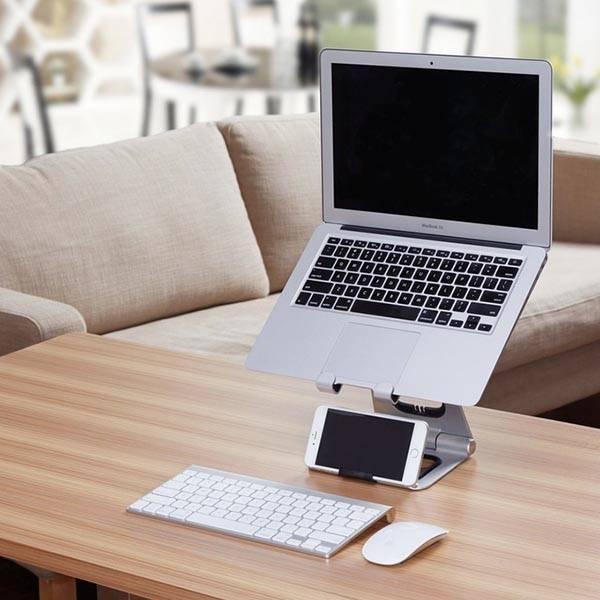 Apex Aluminum Portable Laptop Stand Featuring Integrated iPhone Stand