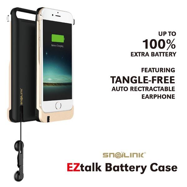 EZtalk Plus iPhone 6 Plus Battery Case with Integrated Earphone