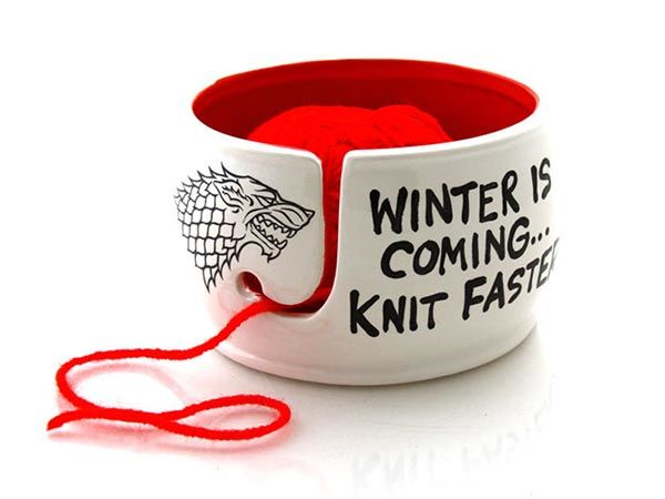 Game of Thrones Winter is Coming Knit Faster Yarn Bowl - one of our handmade gifts
