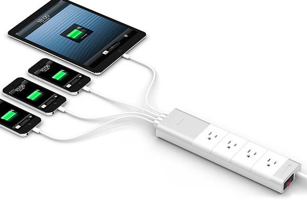 Satechi Aluminum Power Strip with 4 AC Outlets and 4 USB Ports