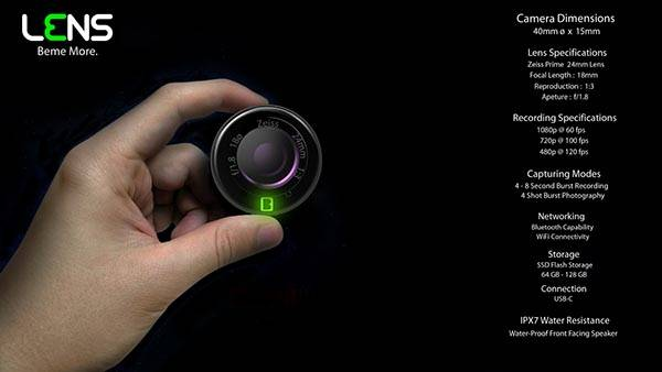 The Concept Lens Action Camera for Beme Social Video App