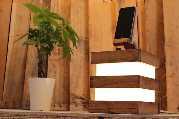 Handmade Desk Lamp With Integrated iPhone Dock - one of our handmade tech gifts