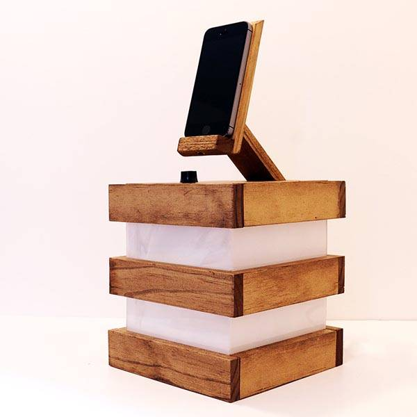 Handmade Desk Lamp With Integrated iPhone Dock