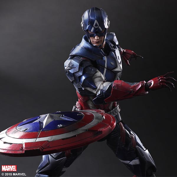 Variant Play Arts Kai Captain America Action Figure with a Powerful Armor Suit