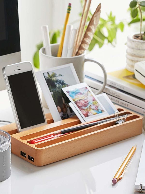 Wooden Charging Station With Two Usb Ports And Integrated