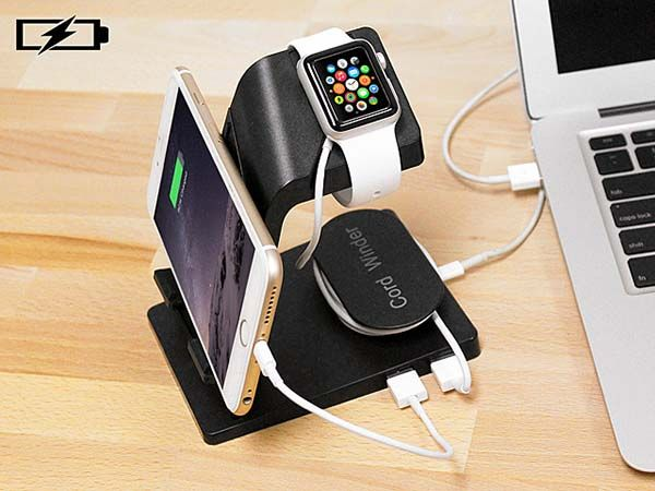 The 2-In-1 Apple Watch Charging Station with iPhone Stand and Cable Organizer