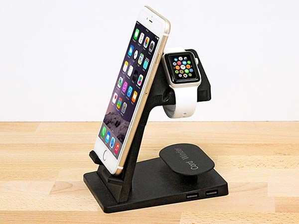 2-In-1 Apple Watch Charging Station with iPhone Stand and Cable Organizer