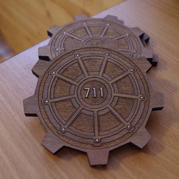 Fallout 3 Vault Door Drink Coasters - one of our handmade gifts