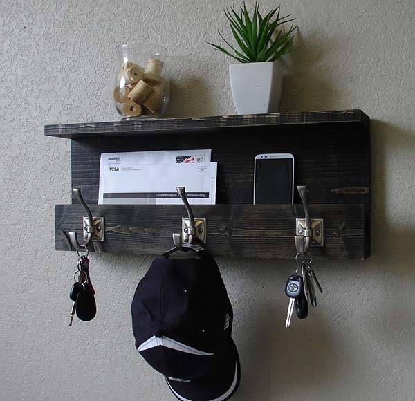 Handmade Rustic Entryway Wall Shelf with Coat Rack and Mail Organizer