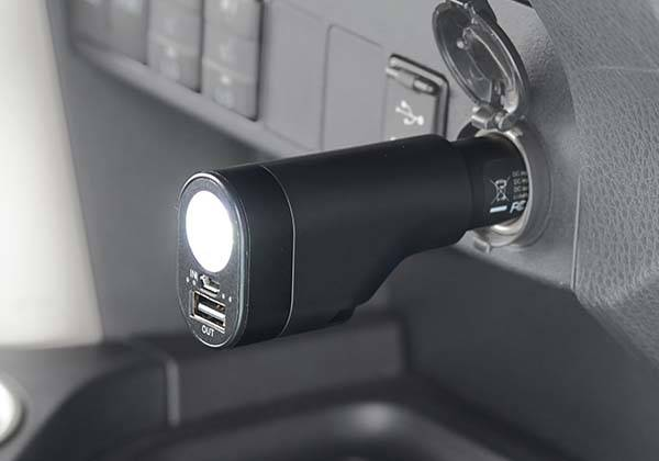 The USB Car Charger with Integrated Razor, Power Bank and LED Flashlight