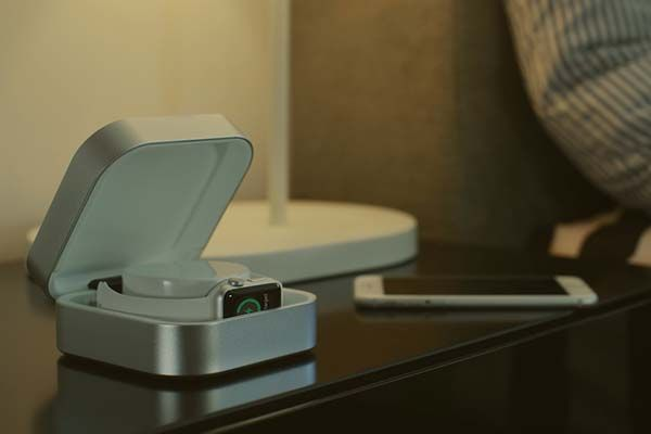 Amber Portable Apple Watch Charging Station with Power Bank