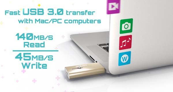 iShowFast is a USB 3.0 Flash Drive with Lightning Connector