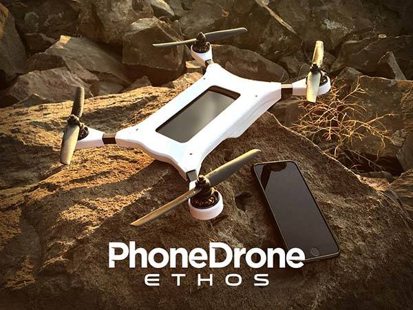 PhoneDrone Ethos Flying Drone Turns iPhone or Android Phone Into an Aerial Camera