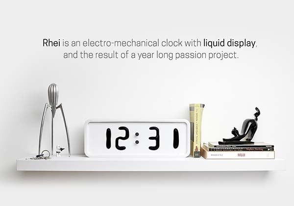 Rhei Electro-Mechanical Clock with a Liquid Display