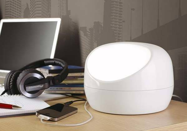 Stone Desk Lamp with Integrated USB Hub