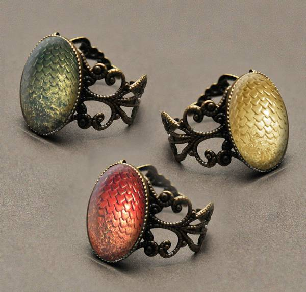 Handmade Game of Thrones Dragon Egg Bronze Filigree Ring