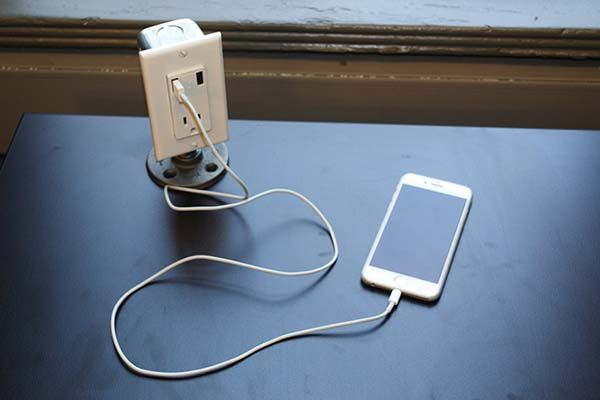 The Handmade Industrial Desk USB Charging Station Modified from a Wall Outlet