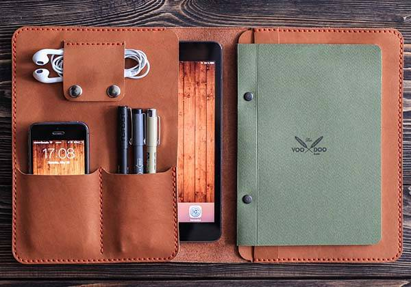 The handmade leather ipad mini case holds your phone for Construction organizer notebook