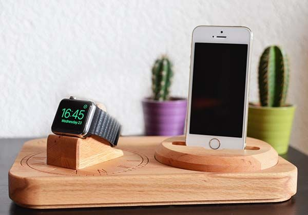 The Handmade Wooden Charging Station For Apple Watch And
