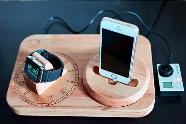 Handmade Wood Charging Station for Apple Watch and iPhone