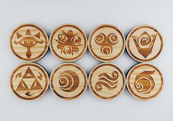 The Handmade Wooden Coaster Set Inspired by Those Iconic Zelda Symbols