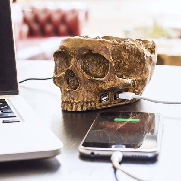 Skull USB Hub with Desk Organizer
