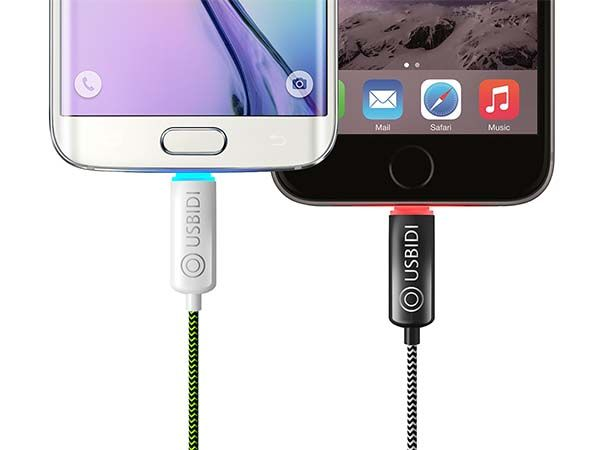 UsBidi Braided Charging Cable for iOS or Android with LED Indicator and Magnetic Ends