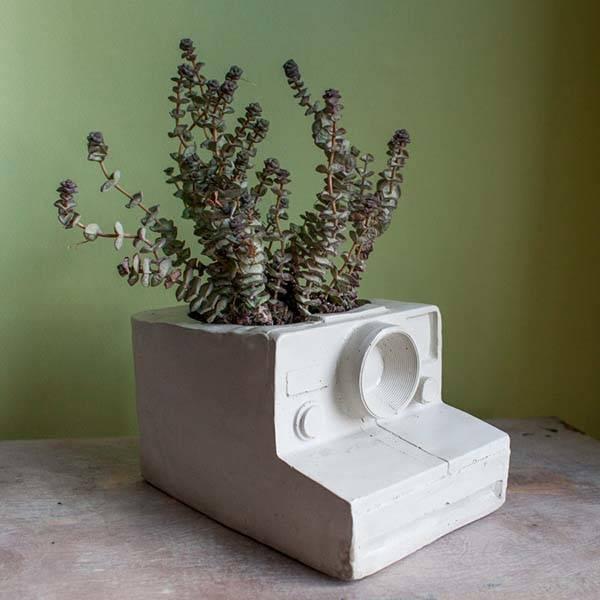 Handmade Vintage Cameras Inspired Concrete Planters