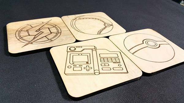 Handmade Video Game Wood Coaster Set