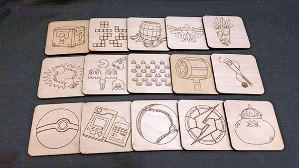 Handmade Video Game Wood Coaster Set