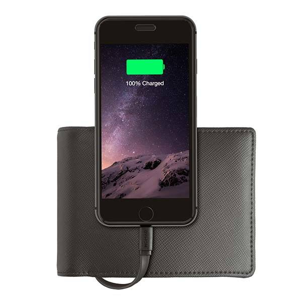 Nomad Wallet with Built-in Power Bank and Lightning Cable