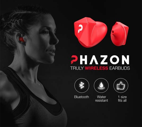 Phazon One Size Fits All Bluetooth Earbuds
