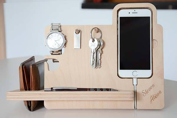 The Handmade Desk Organizer with Watch Stand, iPhone Dock, Key Holder and More