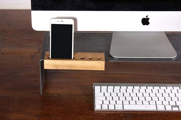 Handmade Monitor Stand with Wooden iPhone Dock and Pen Holder