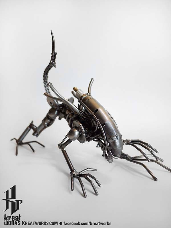 The Pop Culture Character Figurines and Sculptures Made from Recycled Metal and Useless Auto Parts