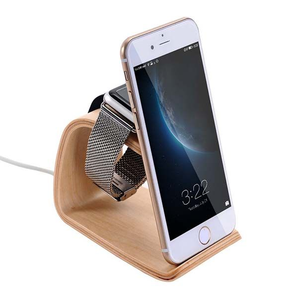 Wooden Apple Watch Charging Station with Integrated iPhone Stand