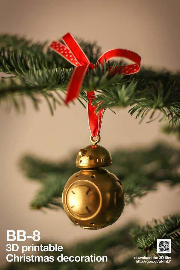 3D Printable Star Wars BB-8 Christmas Ornament