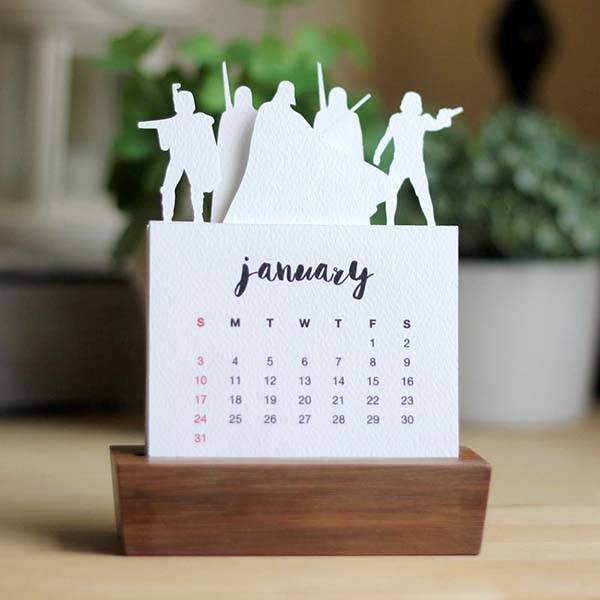 Handmade Minimal Star Wars Desk Calendar 2016 With Wood