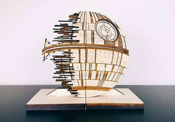 Handmade Star Wars Death Star Bookends