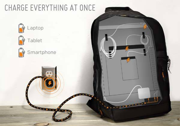 MOS Pack Backpack with Built-in Cable Organizer and Power Strip