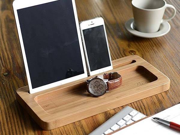 The Bamboo Desk Organizer with Integrated Docking Station