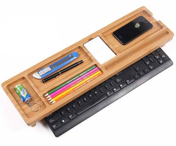 Bamboo Keyboard Shelf with Integrated Desk Organizer