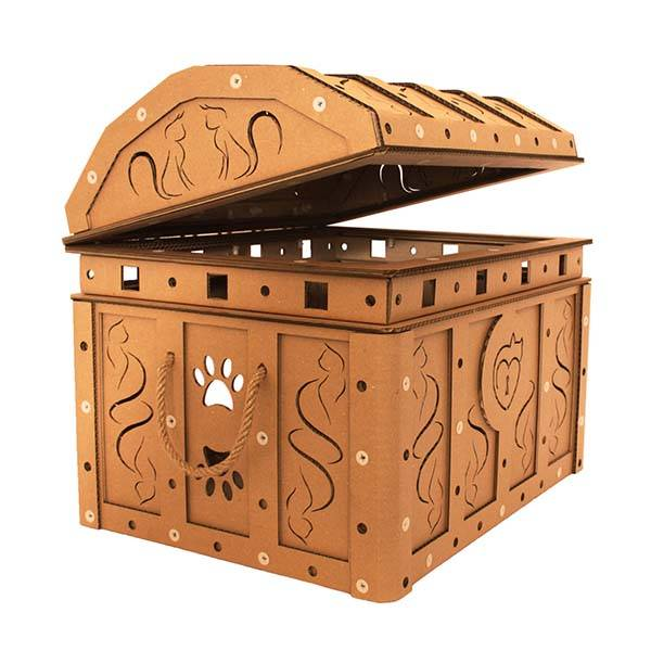 Treasure Chest Cardboard Cat House