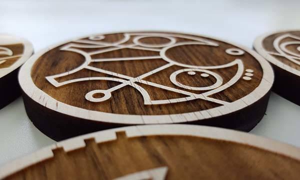 Handmade Doctor Who Gallifreyan Drink Coaster Set