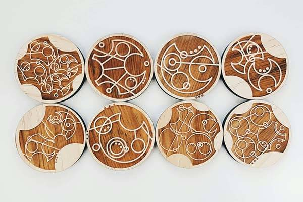 Handmade Doctor Who Gallifreyan Drink Coaster Set