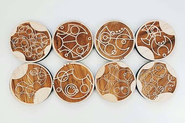 Handmade doctor who gallifreyan drink coaster set gadgetsin for Handmade drink coasters