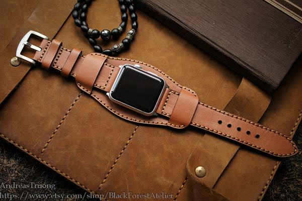 Handmade Apple Watch Leather Cuff Band